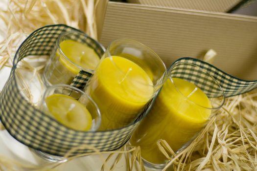 candles, ribbon and box