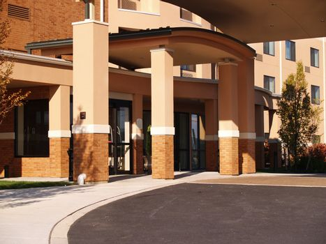 closeup view of a hotel front entrance