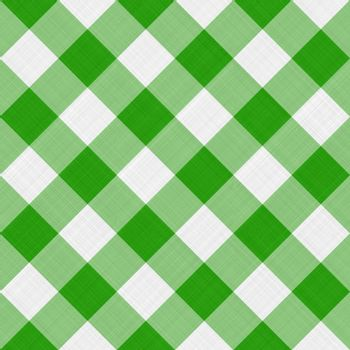 seamless diagonal picnic gingham pattern in fresh green and white