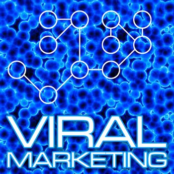 An illustration or diagram demonstrating viral marketing with 3D cells and a flow chart. This image tiles seamlessly as a pattern in any direction.