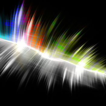A rainbow colored graphic equalizer wave form with sample text in the copy space.