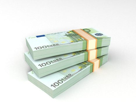 bundles of europian currency