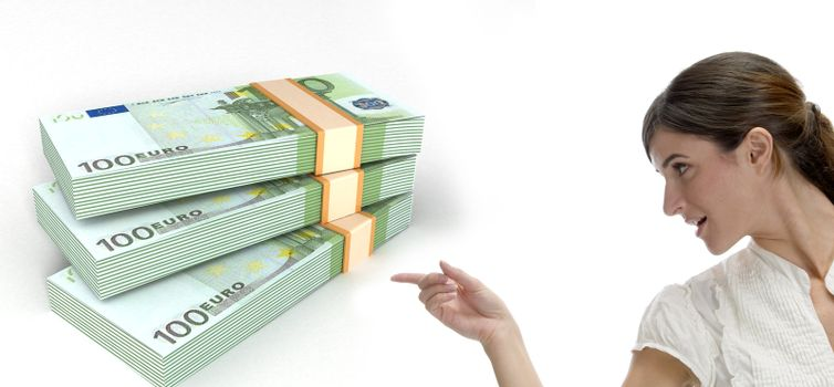 business woman pointing at three dimensional bundles of europian currency