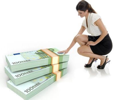 businesswoman and three dimensional bundles of europian currency