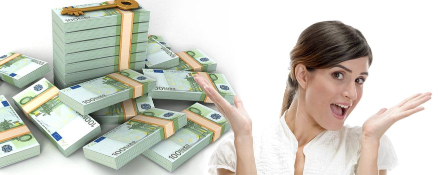 surprised business woman and  three dimensional bundles of europian currency