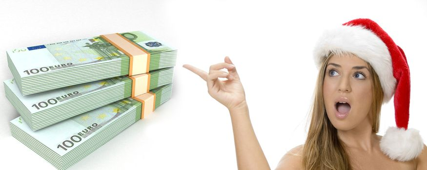 three dimensional bundles of euro money and woman with santa hat