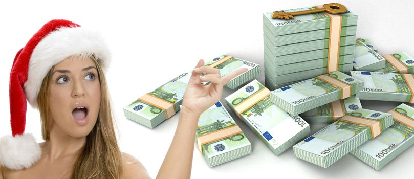 three dimensional  key and bundles of euro money and a sexy lady with santa hat
