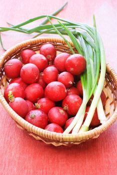 Wicker basket with fresh radish and onion