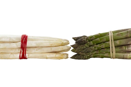 bundle green and white asparagus