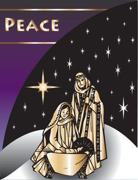 Nativity Christmas Card 2 Vector Illustration.