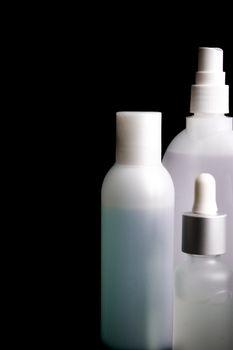 cosmetics on black