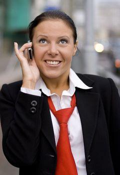 businesswoman speaking by phone