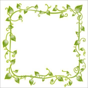 Vector illustration of a vintage floral leaf frame with modern curls and vines.