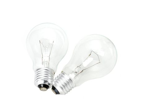 two conventional light bulbs on white background