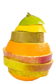 a new fruit composed of kiwi, orange, apple, lime and lemon slices