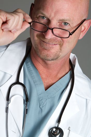 Smiling doctor wearing glasses