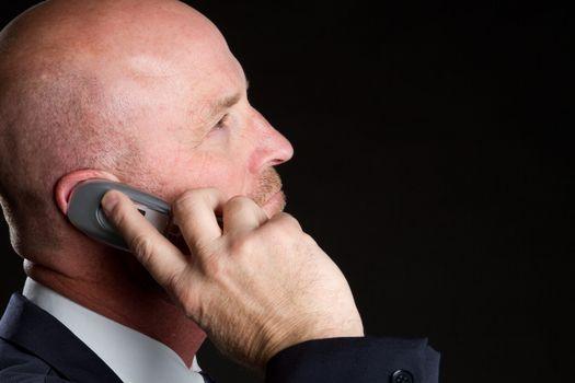 Bald phone man