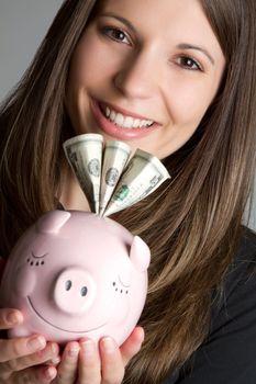 Piggy bank money woman