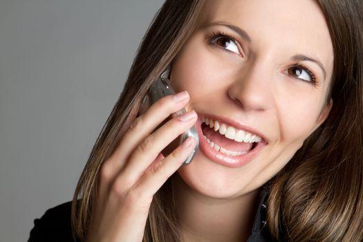 Smiling laughing phone woman