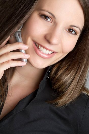Smiling cell phone woman