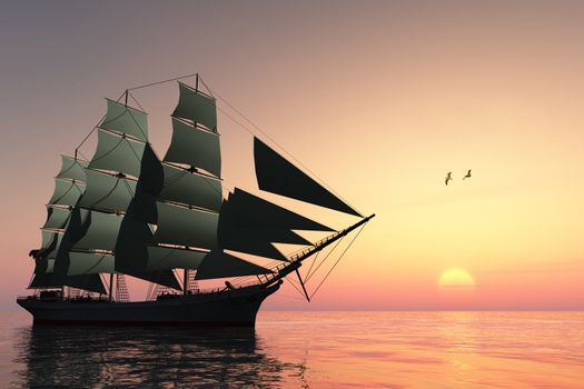 A tall clipper ship sails on calm waters at sunset.