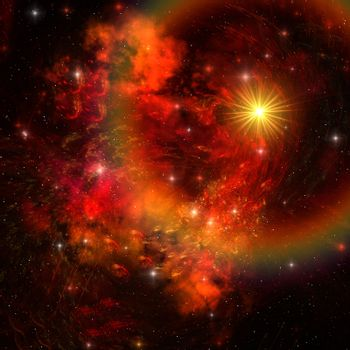 A huge star explodes sending out shock waves throughout the universe.