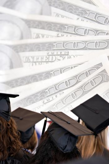 College education montage with graduates isolated over a background of money.