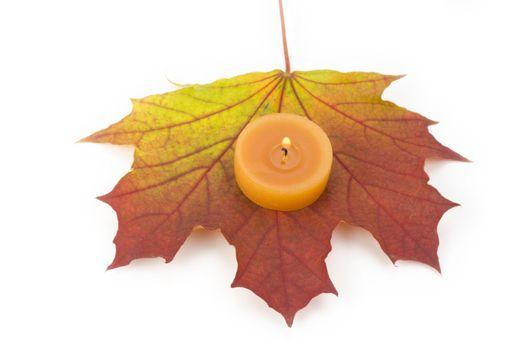 single autumn maple leaf with a tea light