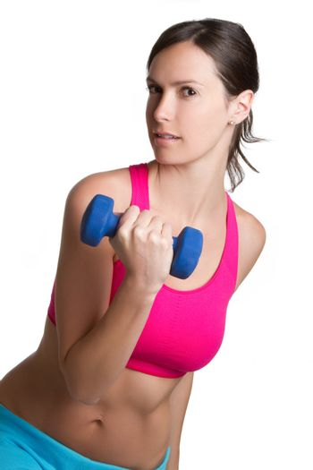 Fitness woman exercising ligting weights