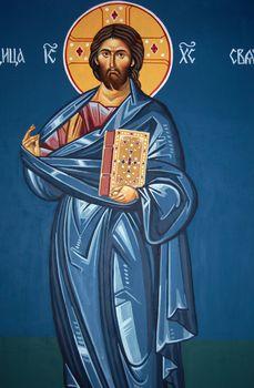 fresoe of jesus christ in ortodox church