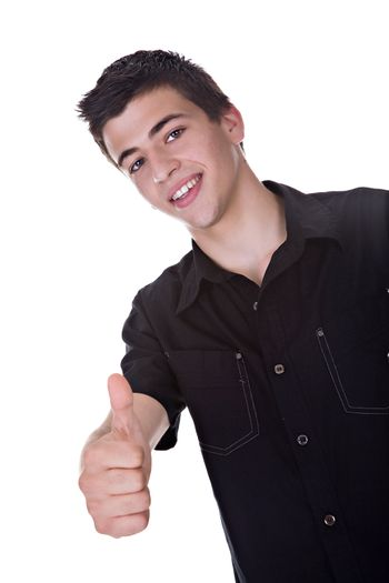 Portrait of a handsome young man, with a thumbs up gesture.