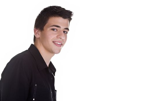 Portrait of a handsome young man, wearing a black shirt, smiling. Isolated on white background.