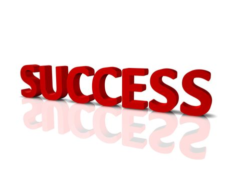 """3D render of the word """"Success"""", with reflection and shadow."""
