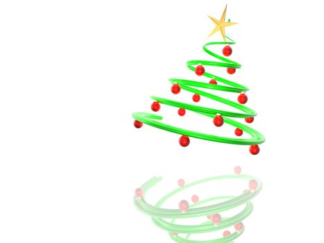 3D render of a shiny christmas tree with ornaments, with reflection.