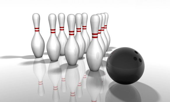3D render of a bowling game. With shadows and reflection.