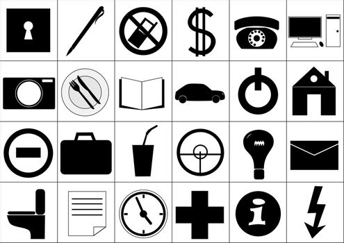 A set of twenty four icons for office and everyday life