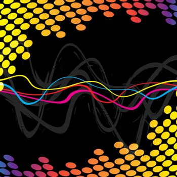 A wavy lines background indicating frequency or audio waves.