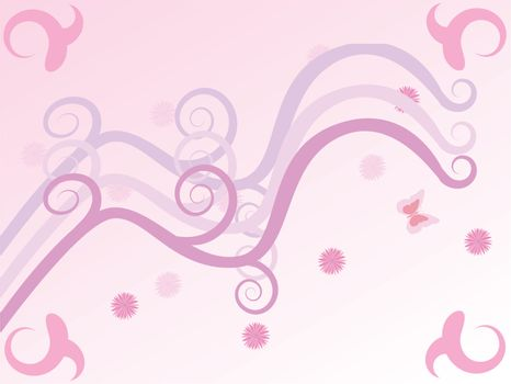 Background illustration in pink with curves and flowers, to celebrate spring