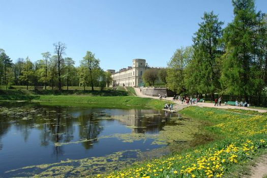 Landscape of palace park with lake in Gatchina, Petersburg