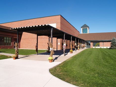 exterior entrance of elementary school decorated for Halloween