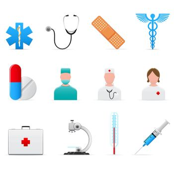 Set of 12 vector medical icons isolated on white