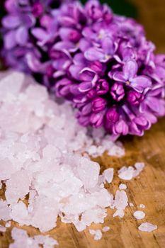 bath salt and lilac flower