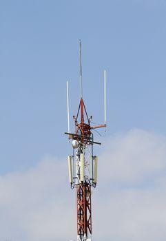 Closeup of communication tower