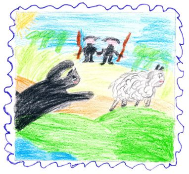 Child's drawing - beast catches sheep. Hunters rush to help.