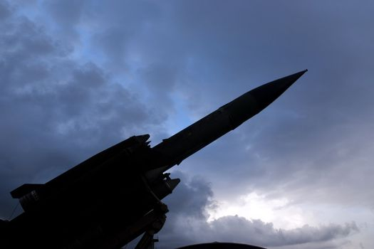 Bloodhound surface to air missile against a stormy sky.