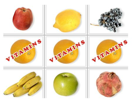 A numbers of fruits isolated on white