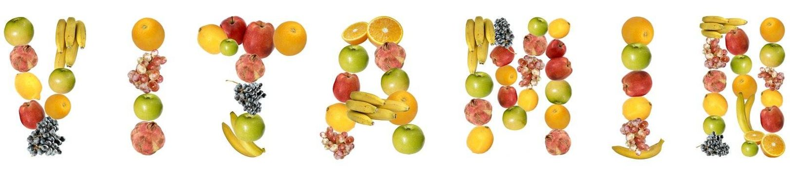 The word vitamin with fruits