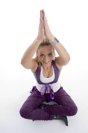 woman doing yoga on an isolated background