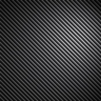 A black carbon fiber background texture with reflective highlights.