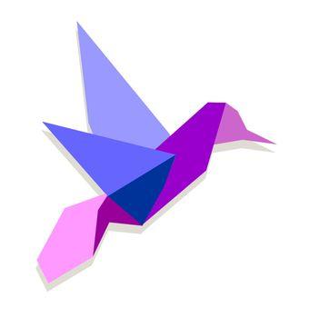 Vibrant colors Origami hummingbird